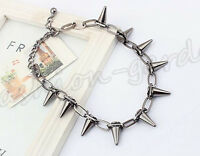 Fashion Women Gothic Punk Rock Spike Cone Stud Rivet Chain Collar Necklace