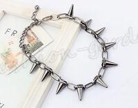 Fashion Women Gothic Punk Rock Spike Cone Stud Rivet Chain Collar Necklace