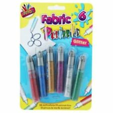 Children's 6 x Fashion Fabric Paints Glitter Or Metallic Fashion Art T-shirt