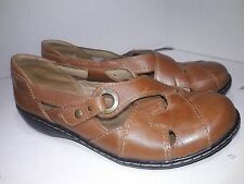 Clarks Brown Leather Mary Janes Buckle Womens Size 7