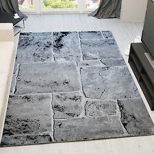 Designer Teppich Modern Stein Mauer Optik in Grau Weiss Dekorativ Qualitätiv NEU