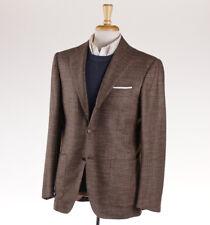 NWT $7695 KITON Brown Houndstooth Check 100% Cashmere Sport Coat 48 R (Eu 58)