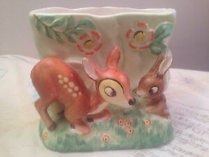 Vintage Fine China Haindpainted Disney Bambi & Thumper Vase by Giftcraft Napco