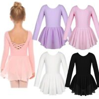 Kids Girls Long Sleeves Irregular Hem Ballet Dance Gymnastics Leotard Tutu Dress