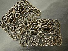 Vintage MUSI Goldtone Filigree Scroll Design Shoe Clips