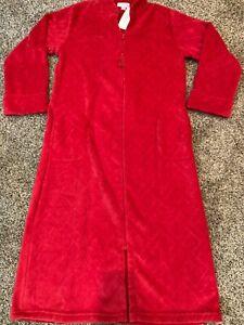 Miss Elaine Womens Red Fleece Full Zip House Coat Robe Size S Small 866987T