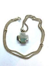 "Vintage Sterling Silver Opening Cross Locket Pendant Necklace 18"" 6 grams"