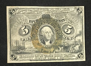 1863 2nd Issue Five Cent 5c FR 1233 XF-AU United States Fractional Currency