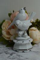 Vtge Gerold Porzellan Bavaria Porcelain Flower Frog with Birds Made in Germany