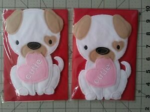 Hallmark Signature 3D Fabric Puppy Happy Valentine's Day Cards 2 count