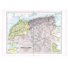 Antico Mappa 1910-Marocco, Algeria e Tunisia inserto di Algeri da Bartolomeo