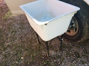 Vintage Cast Iron Laundry/Utility Sink shelf standing