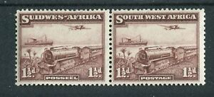 South West Africa KGVI 1937 1.5d purple-brown pair SG96 MNH