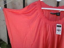 Bay Studio Plus Sz 1X 100% rayon casual knit top dolmen sleeve color solid coral