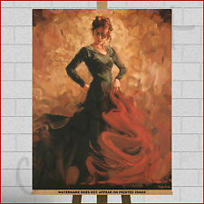 Mark Spain Spanish Flamenco Dancer Large Framed Box Canvas Print Wall Art Tango