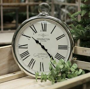 Large Wall Clock Pocket Fob Watch Round Vintage Retro Decor Style Silver 42cm UK