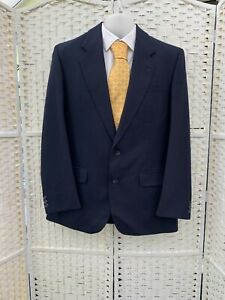 The Label Heavy Weight Made to Measure Men's VTG wool navy blue suit 40R W34 L31