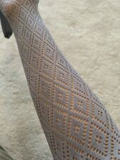 Small Ladies Fishnet Net Diamond Mesh Socks Hoise Pantyhose Grey Tights. BNWOT.