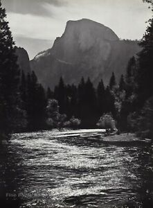 1959 Vintage ANSEL ADAMS Half Dome And River Yosemite Landscape Photo Art 12X16