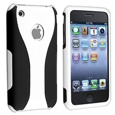 WHITE BLACK 3-PIECE SNAP-ON HARD CASE COVER for APPLE iPHONE 3G S 3GS