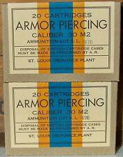 ST. LOUIS ORD .30 M2 ARMOR PIERCING WW2 NEW REPLICA 20 ROUND AMMO BOX (2 PCS)