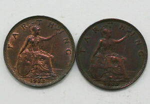 1932 & 1933 George V 1/4d British Farthing Coins - 2 Coins (MZ16)