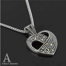 Art Deco Marcasite Heart Set Pendant Necklace Silver Birthday Wedding Gifts Prom