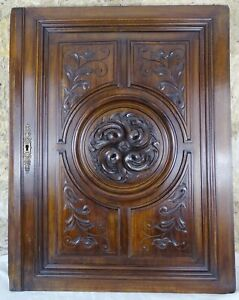 French Antique Large Carved Architectural Walnut Wood Panel Door - A Rosette 1