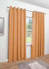 Luxury Faux Silk Eyelet Fully Lined Curtains - Ring Top - Black Silver White