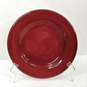 Ciao Burgundy Salad Plate by Artimino Hand Painted Red Earthenware Dessert 9 In