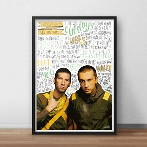 Twenty One Pilots Poster / Print / Wall Art A4 A3 A2 / Stressed Out / Heathens