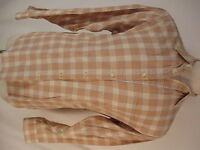 Ermenegildo Zegna Sport Mens Beige Plaid Long Sleeve Cotton Shirt L