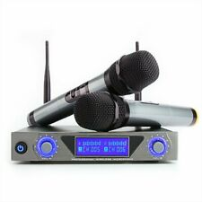 ARCHEER Wireless UHF Dual HandHeld Karaok Microphone System Dynamic LCD  NEW