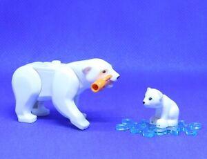 LEGO ARCTIC SET ~ Polar Bear & Cub Silver Fish Authentic Animal Minifigures  NEW
