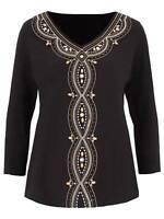 Julipa beaded ladies top plus size 14 black embellished beads cotton jersey