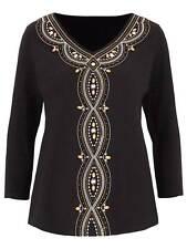 Julipa beaded ladies top plus size 14 16 20 24 28 30 black embellished beaded