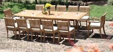 """Giva 13-pc Outdoor Teak Dining: 117"""" Rectangle Extn Table, 12 Arm/Armless Chairs"""