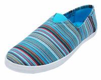 LADIES BLUE STRIPE CANVAS FLAT SLIP-ON PLIMSOLL PUMPS COMFY CASUAL SHOES UK 3-8