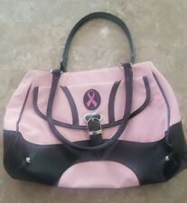 Breast Cancer Site Purse Hand Bag Black Pink Ribbon Pockets