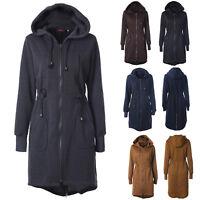 Women Winter Zipper Hoodie Long Jacket Sweatshirt Coat Casual Trench Outwear Top