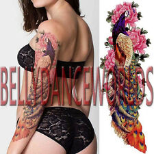 FULL ARM PEACOCK PINK PEONY FLOWER TEMPORARY TATTOO SLEEVE WOMAN BODY STICKER