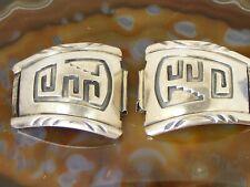 Vintage Navajo Roger A. Lewis Sterling Silver Geometric Design Large Watch Tips