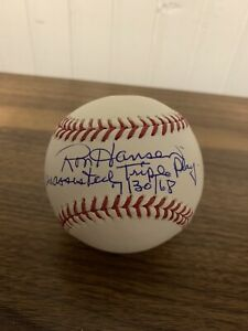 """Ron Hansen """"Unassisted Triple Play"""" Signed Official Baseball AUTO TRISTAR HOLO"""