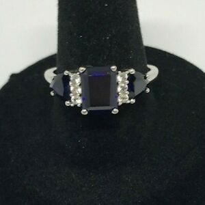 10k White Gold Ring with Blue Gemstones and Cubics