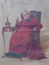 Alfred-Charles WEBER 1862-1922 Cardinal vin de messe Huile s/ toile Caricature