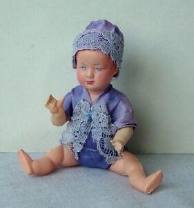 ancien poupon poupée PETITCOLLIN CELLULOÏD Bébé Bleu Pervenche Vintage DOLL