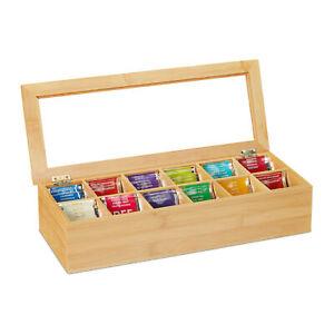 Teebox 12 Fächer Bambus Teeaufbewahrung Teekiste Teebeutelkiste Teeorganizer
