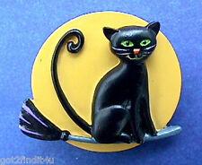 BUY1&GET1@50%~Hallmark PIN Halloween CAT BLACK Broom w FULL MOON Vtg Brooch