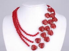 Hot 3Rows Red Heart Ruby White Pearl Red Ruby Necklace