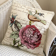Cushion Cover, High Density Embroidery and Print Bird & Flower 100% Cotton NEW